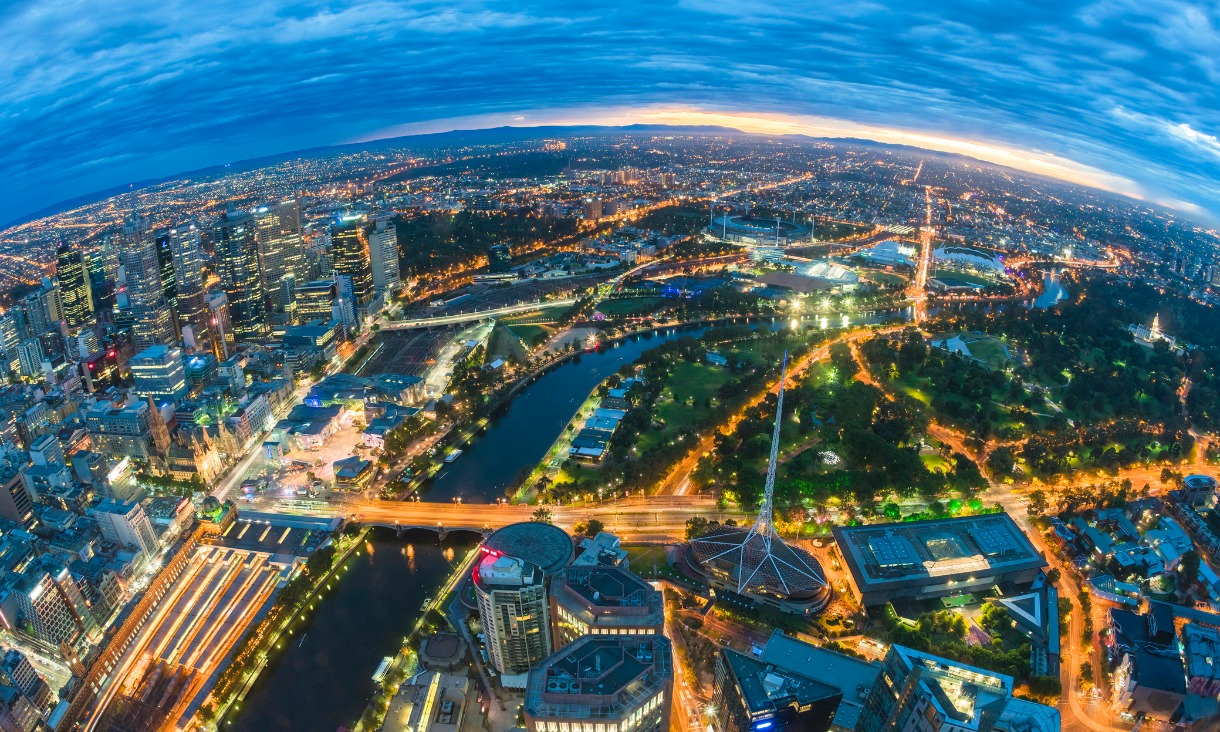 Aerial view of Melbourne through a fisheye lens